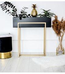 metalowa konsola donica złota loftowa kwietnik