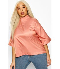 plus high neck 3/4 sleeve woven top, mauve