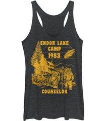 fifth sun star wars ewok endor lake 83 camp counselor tri-blend racer back tank