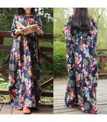 zanzea mujeres vestido largo maxi floral de la vendimia de impresión vestidos de alas de murciélago de manga larga bolsillos casual tamaño flojo vestidos plus -azul