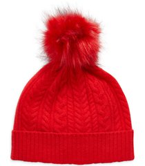 women's halogen cash chunky faux fur pom cashmere beanie - red