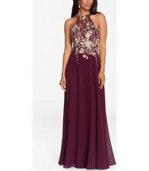 betsy & adam embellished chiffon illusion gown