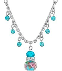 "2028 silver tone aqua pink flower beaded drop necklace 16"" adjustable"
