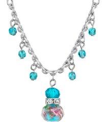 "2028 silver tone aqua pink flower beaded drop necklace 16"" adjustable"