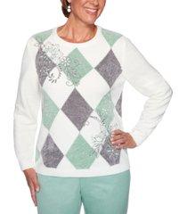 alfred dunner petite lake geneva diamond-print embroidered sweater