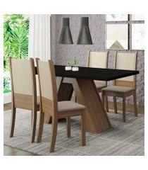 conjunto sala de jantar madesa kiara mesa tampo de madeira com 4 cadeiras rustic/preto/crema/bege rustic
