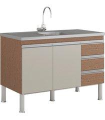 gabinete para cozinha ibiza 80x114cm amêndoa e off white