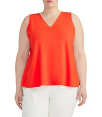 plus size women's rachel roy collection v-neck knit swing top, size 1x - red
