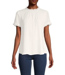 tommy hilfiger women's ruffled-trim roundneck top - ivory - size xs