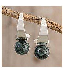 jade half-hoop earrings, 'mystic jade' (guatemala)