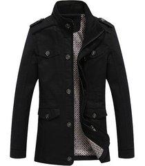 chaqueta hombre casual larga slim fit algodon 86923 negro