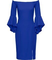 abito con spalle scoperte e maniche a campana (blu) - bodyflirt boutique