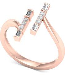 diamond vertical bar cuff ring (1/4 ct. t.w.) in 10k rose gold