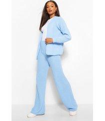 gebreide korte cardigan en wide leg broek set, blauw