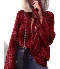 yoins blusa de leopardo con lazo cuello de leopardo