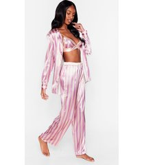 womens stay stripe there 3-pc oversized pajama set - mauve