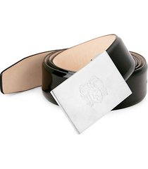 crest engraved patent leather belt
