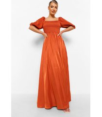geplooide maxi jurk met 3/4 mouwen, rust