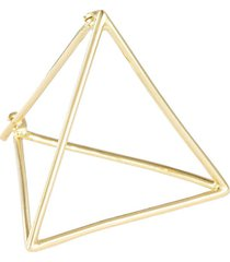 'triangle' 18k yellow gold pyramid single earring - 25mm