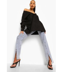 geweven oversized blouse met open schouders, black