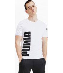 big logo graphic heren-t-shirt met korte mouwen, wit, maat l   puma