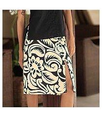 cotton batik wraparound skirt, 'balinese shadow' (indonesia)