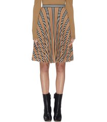 archive stripe pleated midi skirt