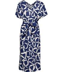 d1. cresent bloom jersey dress knälång klänning blå gant