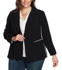 1.state plus size piped jacket