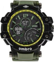 reloj digital análogo verde umbro