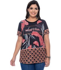 blusa elegance all curves t-shirt plus size sublimada