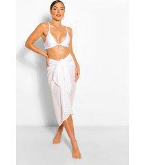 tie waist midi beach sarong, ivory