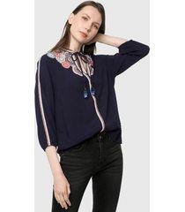 blusa azul navy-multicolor desigual
