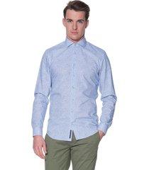 blue industry casual shirt met lange mouwen blauw
