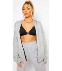 basic oversized hoodie met rits, grijs gemêleerd