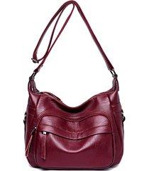 tracolla per donna a doppio strato borsa spalla con impunture borsa