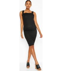 maternity ruffle strap lettuce hem mini dress, black