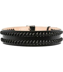 woman black military belt with knots