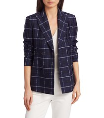 akris punto women's plaid cotton & silk jacket - dark denim - size 4