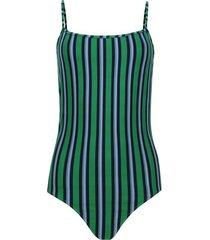 body mujer tiras a rayas color verde, talla 10