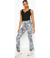 animal print flared rib legging, blue
