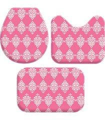 kit 3 tapetes decorativos para banheiro wevans  abstrato rosa - rosa - dafiti