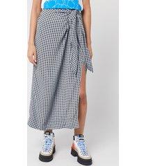 ganni women's checked printed crepe skirt - brunnera blue - eu 36/uk 8