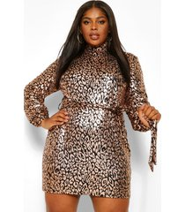plus sequin leopard high neck shift dress, gold