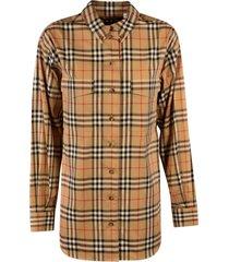 burberry checked print straight shirt