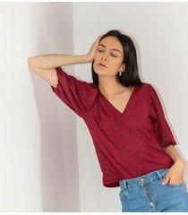 camiseta para mujer en rib rojo color-rojo-talla-xl