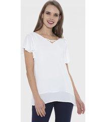 blusa manga corta con vuelos en manga blanco lorenzo di pontti