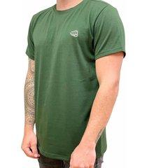 camiseta básica small logo verde militar fist hombre