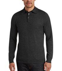joseph abboud charcoal polo collar merino wool sweater