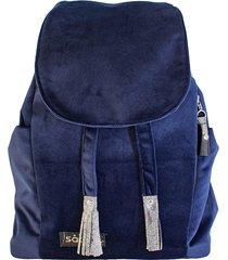 granatowy welurowy plecak premium